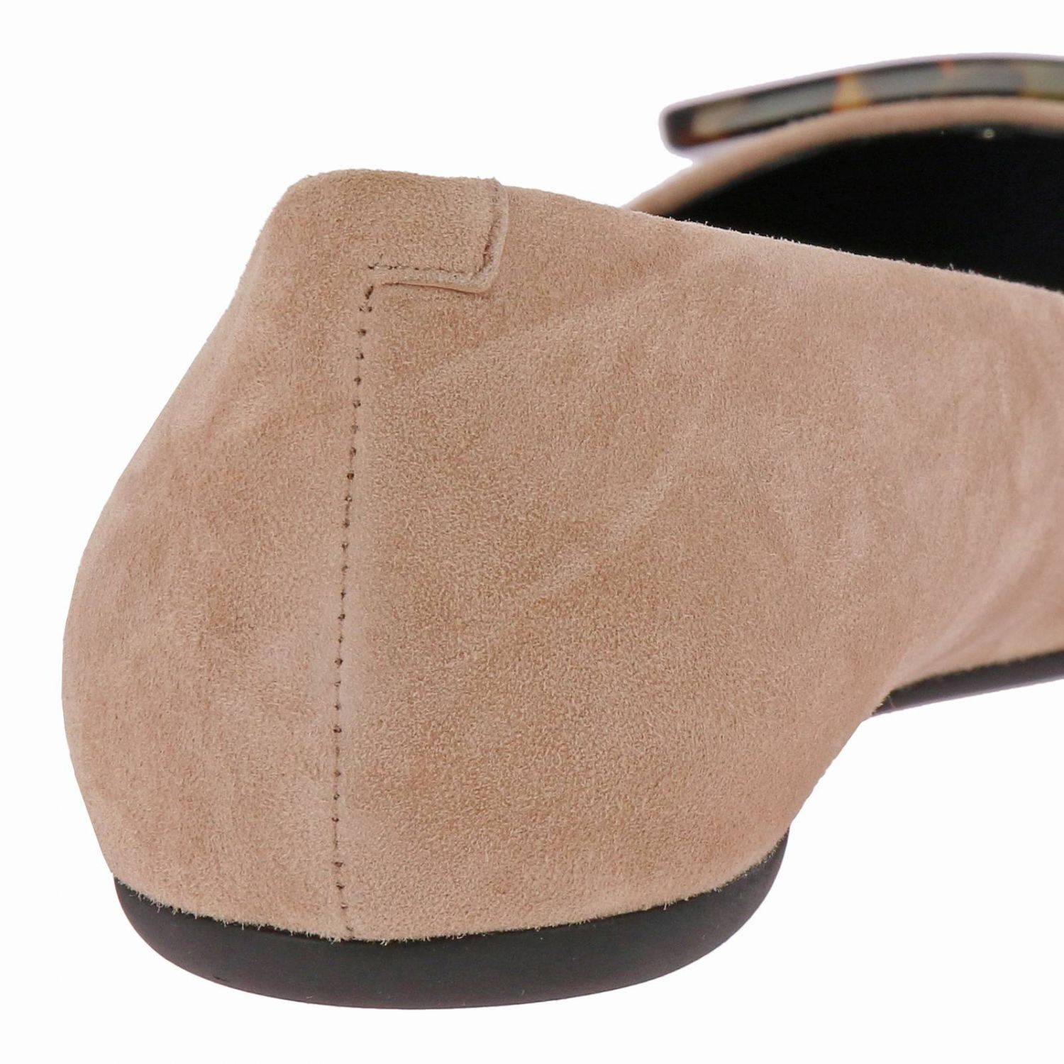 Gommette suede ballet flats with RV turtle buckle nude 4