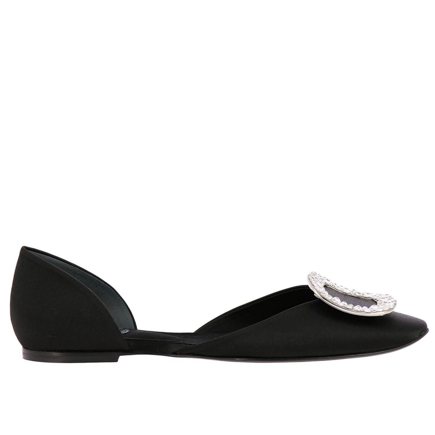 Chips ballet flats with rhinestone buckle in satin black 1