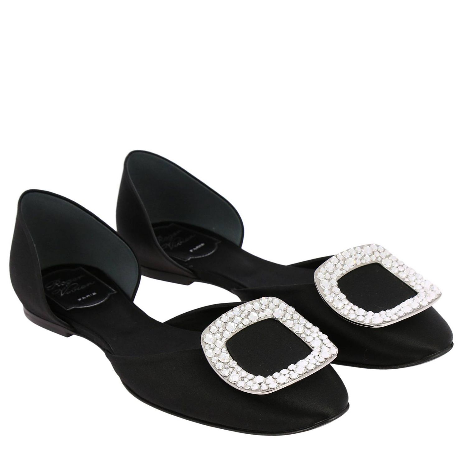 Chips ballet flats with rhinestone buckle in satin black 2