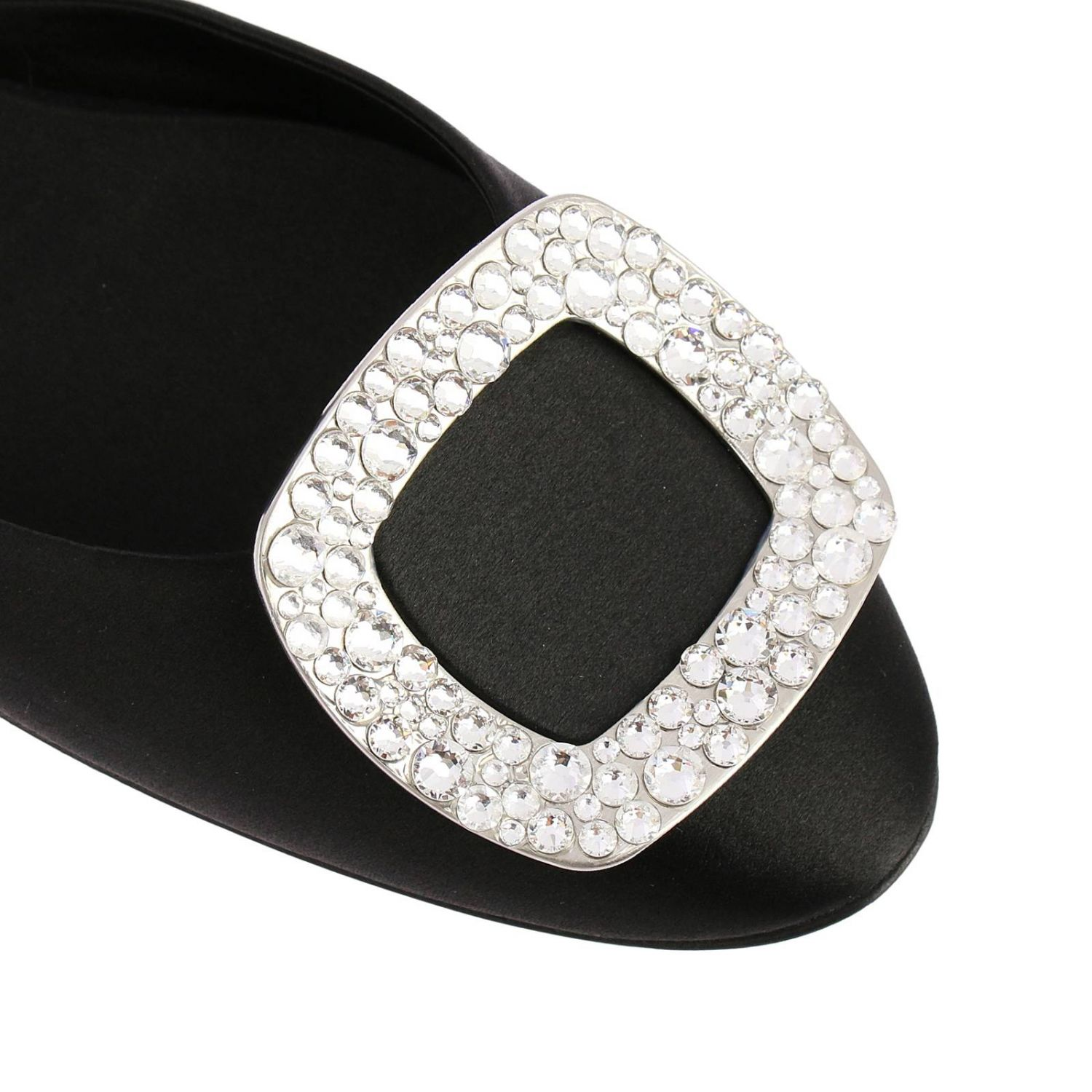 Chips ballet flats with rhinestone buckle in satin black 3