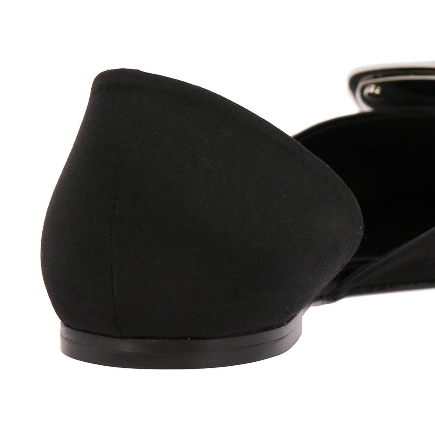 Chips ballet flats with rhinestone buckle in satin black 4