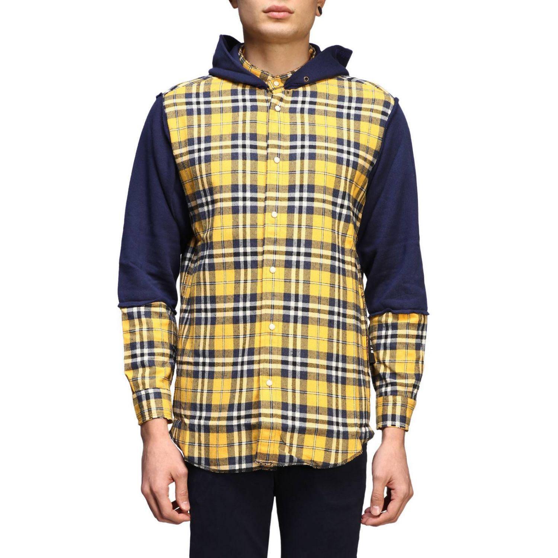 Felpa camicia check con cappuccio giallo 1