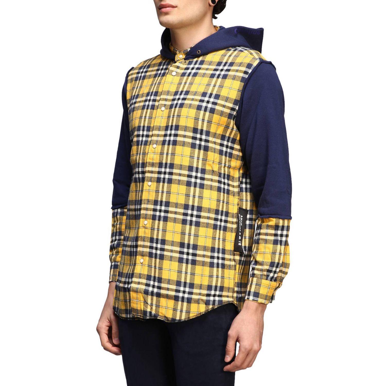 Felpa camicia check con cappuccio giallo 2