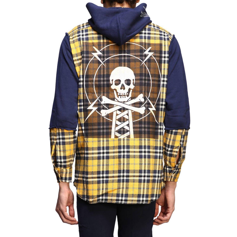 Felpa camicia check con cappuccio giallo 3