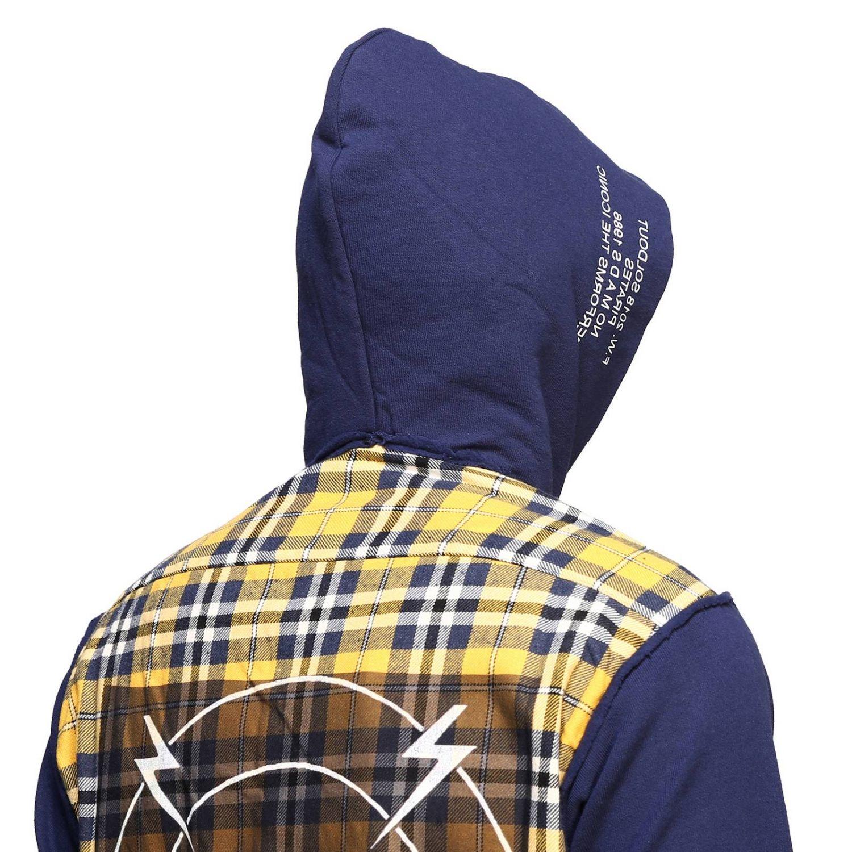 Felpa camicia check con cappuccio giallo 4