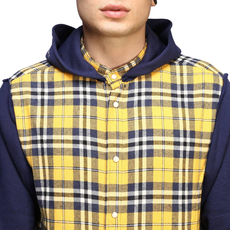 Felpa camicia check con cappuccio giallo 5