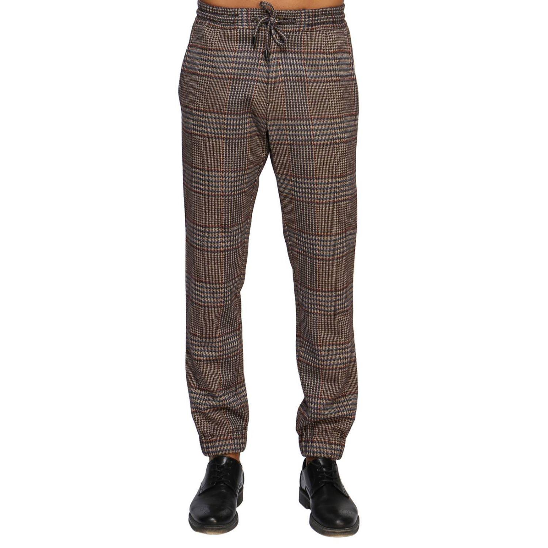 Pantalone Etro: Pantalone jogging in lana con fantasia Principe di Galles beige 1