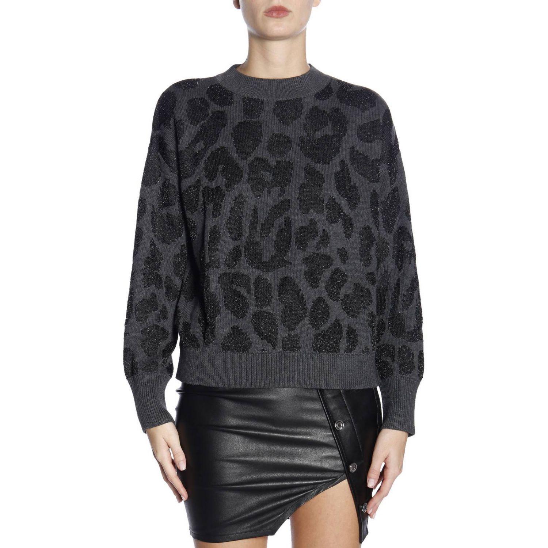 Maglia a girocollo over con maniche lunghe in cashmere leopardato grigio 1