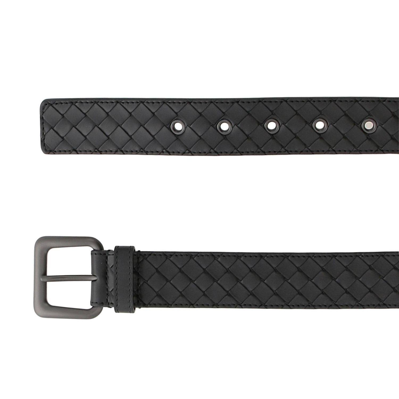 Cintura in pelle con lavorazione intrecciata e fibbia classica nero 2