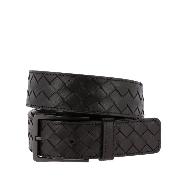 Cintura Classic in vera pelle con lavorazione intrecciata e fibbia sottile ebano 1