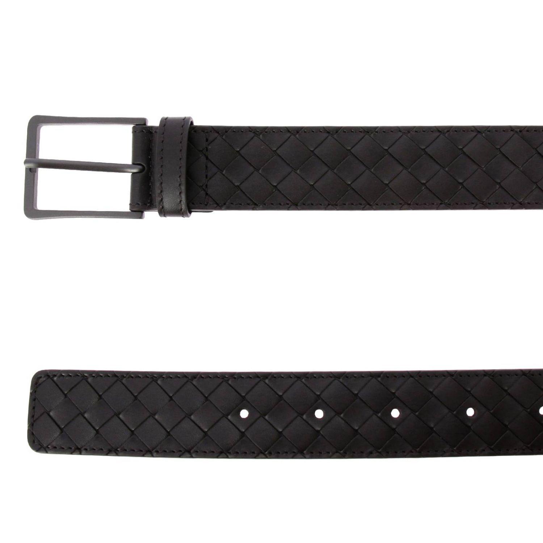 Cintura Classic in vera pelle con lavorazione intrecciata e fibbia sottile ebano 2