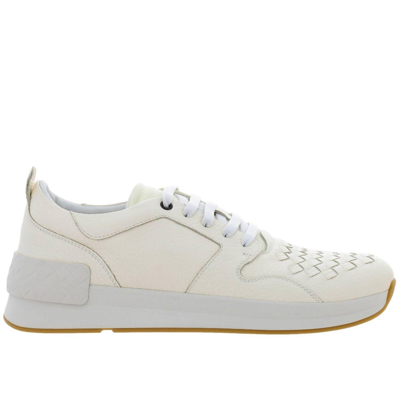 Sneakers stringata in vera pelle con lavorazione intrecciata e canvas tecnologico bianco 1