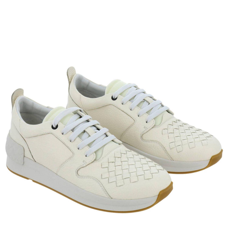 Sneakers stringata in vera pelle con lavorazione intrecciata e canvas tecnologico bianco 2