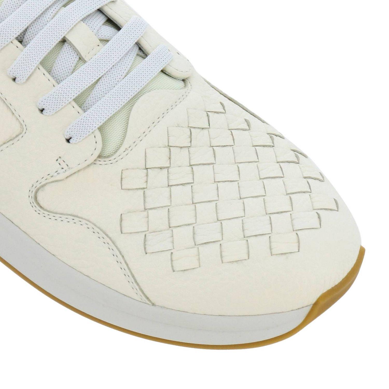 Sneakers stringata in vera pelle con lavorazione intrecciata e canvas tecnologico bianco 3