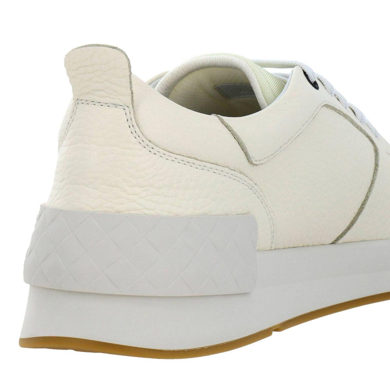 Sneakers stringata in vera pelle con lavorazione intrecciata e canvas tecnologico bianco 4