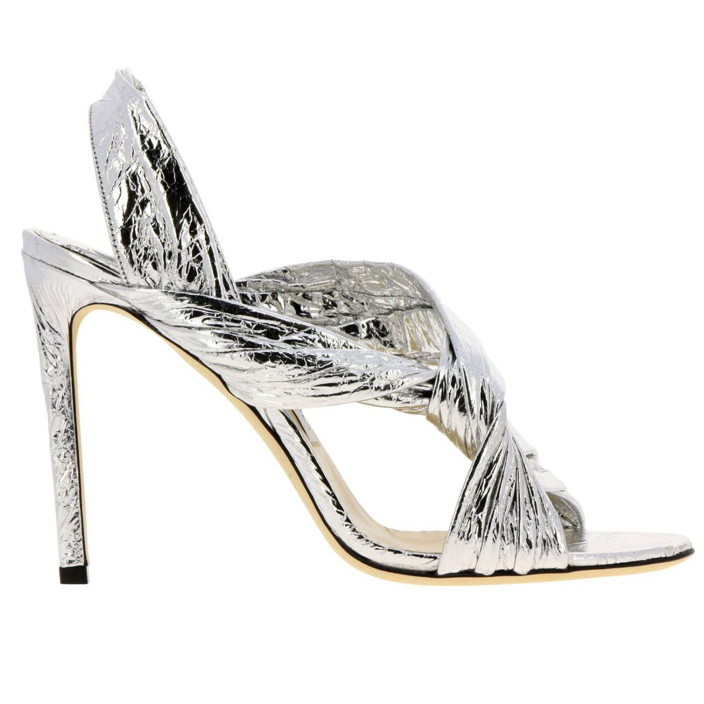 Sandalo Lalia in pelle laminata con fascia incrociata argento 1