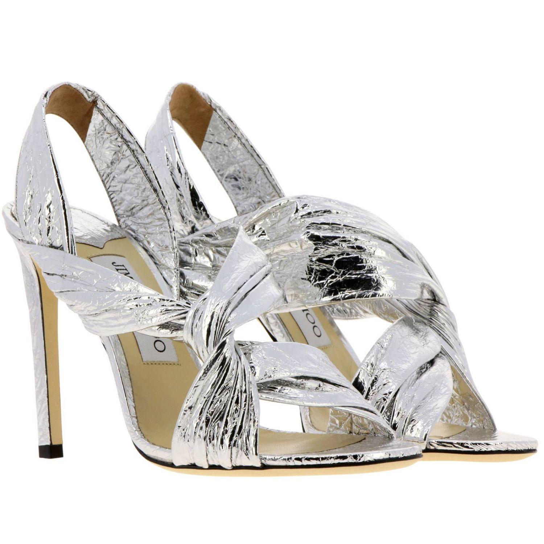 Sandalo Lalia in pelle laminata con fascia incrociata argento 2