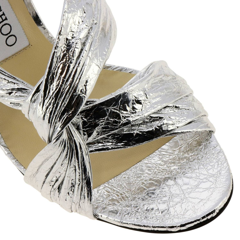 Sandalo Lalia in pelle laminata con fascia incrociata argento 3