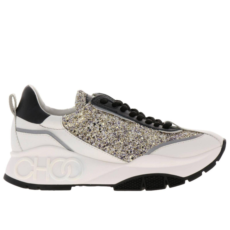 Sneakers Raine in vera pelle laminata e liscia glitter e suola in gomma Jimmy Choo nero 1