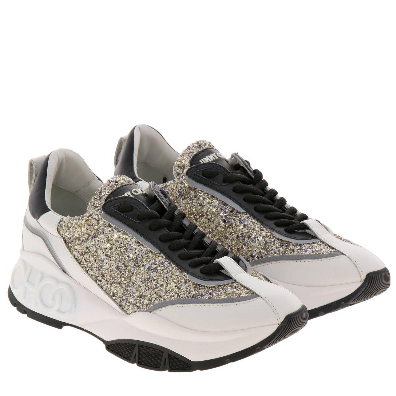 Sneakers Raine in vera pelle laminata e liscia glitter e suola in gomma Jimmy Choo nero 2
