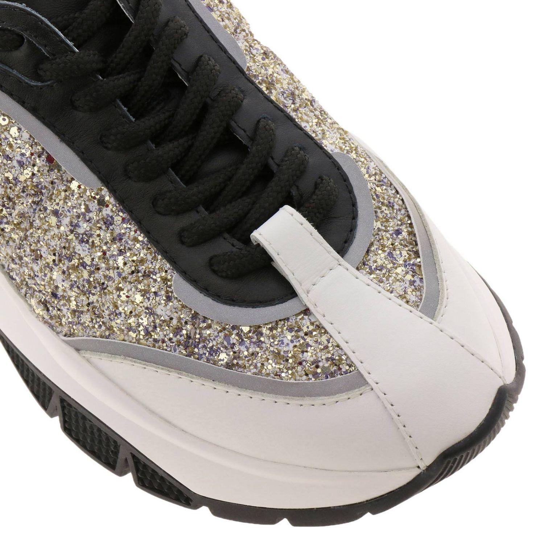Sneakers Raine in vera pelle laminata e liscia glitter e suola in gomma Jimmy Choo nero 3