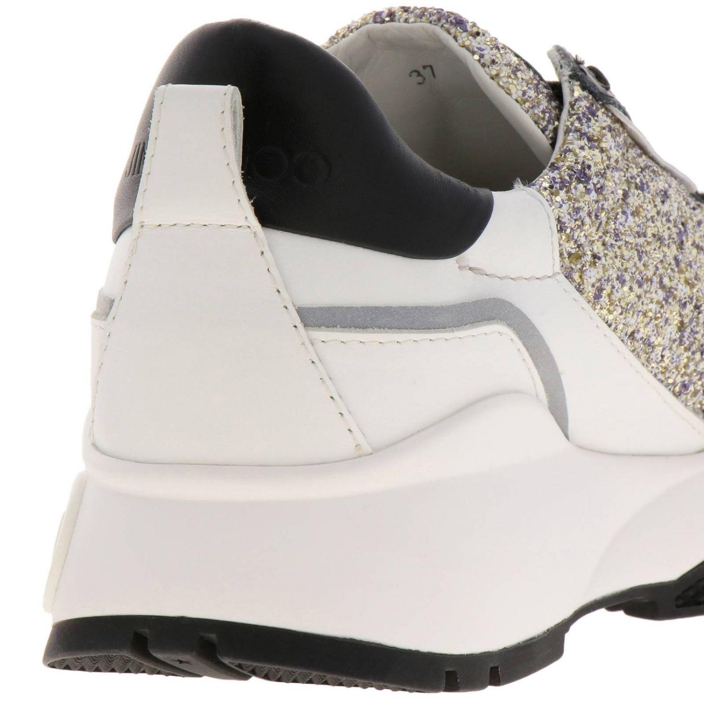 Sneakers Raine in vera pelle laminata e liscia glitter e suola in gomma Jimmy Choo nero 4