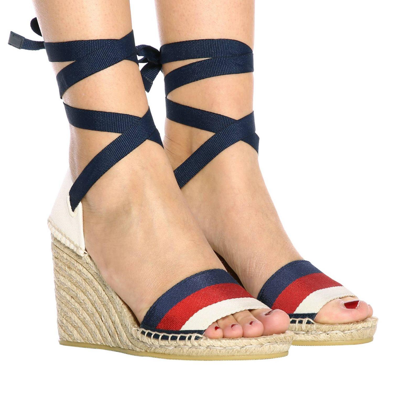 Sandalo a zeppa Lilibeth in corda intrecciata e tela Web Gucci rosso 2