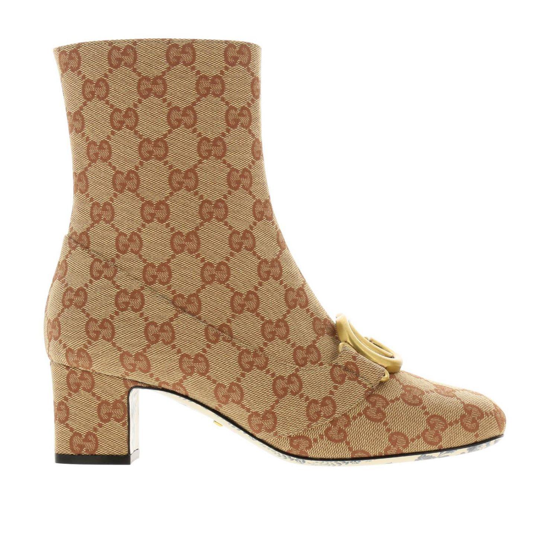 Stivaletto Victoire in tessuto Original GG Supreme Gucci con maxi monogramma metallico beige 1