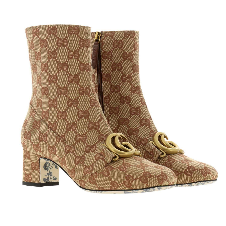 Stivaletto Victoire in tessuto Original GG Supreme Gucci con maxi monogramma metallico beige 2