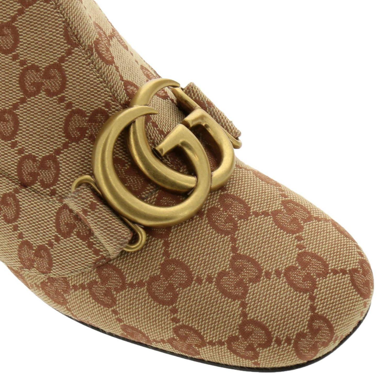 Stivaletto Victoire in tessuto Original GG Supreme Gucci con maxi monogramma metallico beige 3