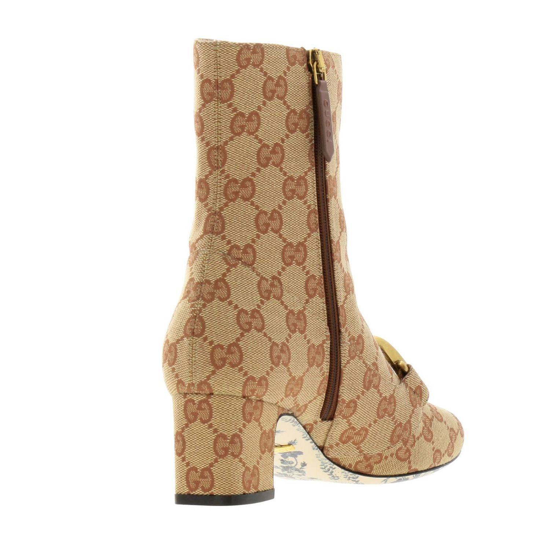 Stivaletto Victoire in tessuto Original GG Supreme Gucci con maxi monogramma metallico beige 4