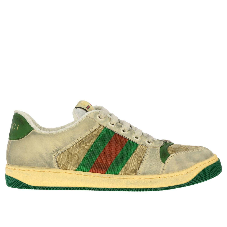 Sneakers Virtus vintage in pelle used e tessuto GG Supreme Gucci con bande Web verde 1