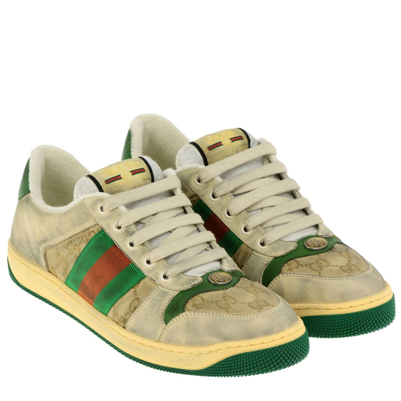 Sneakers Virtus vintage in pelle used e tessuto GG Supreme Gucci con bande Web verde 2