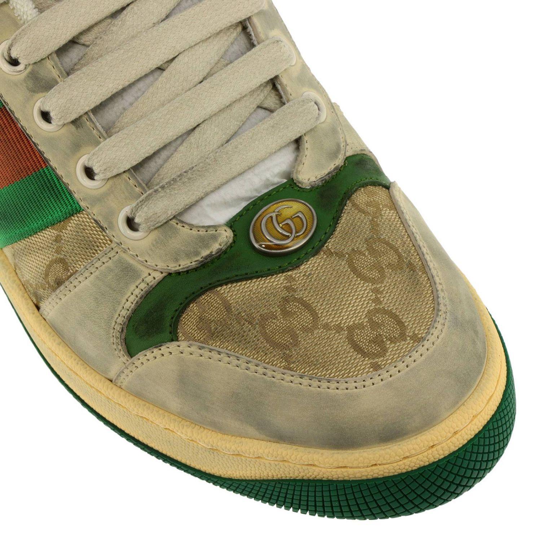 Sneakers Virtus vintage in pelle used e tessuto GG Supreme Gucci con bande Web verde 3
