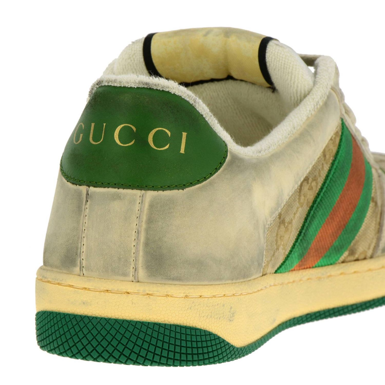 Sneakers Virtus vintage in pelle used e tessuto GG Supreme Gucci con bande Web verde 4