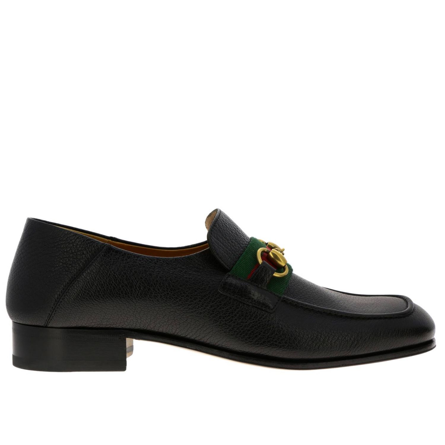 Mocassino Bonny in vera pelle soft con morsetto metallico e fascia Web Gucci nero 1