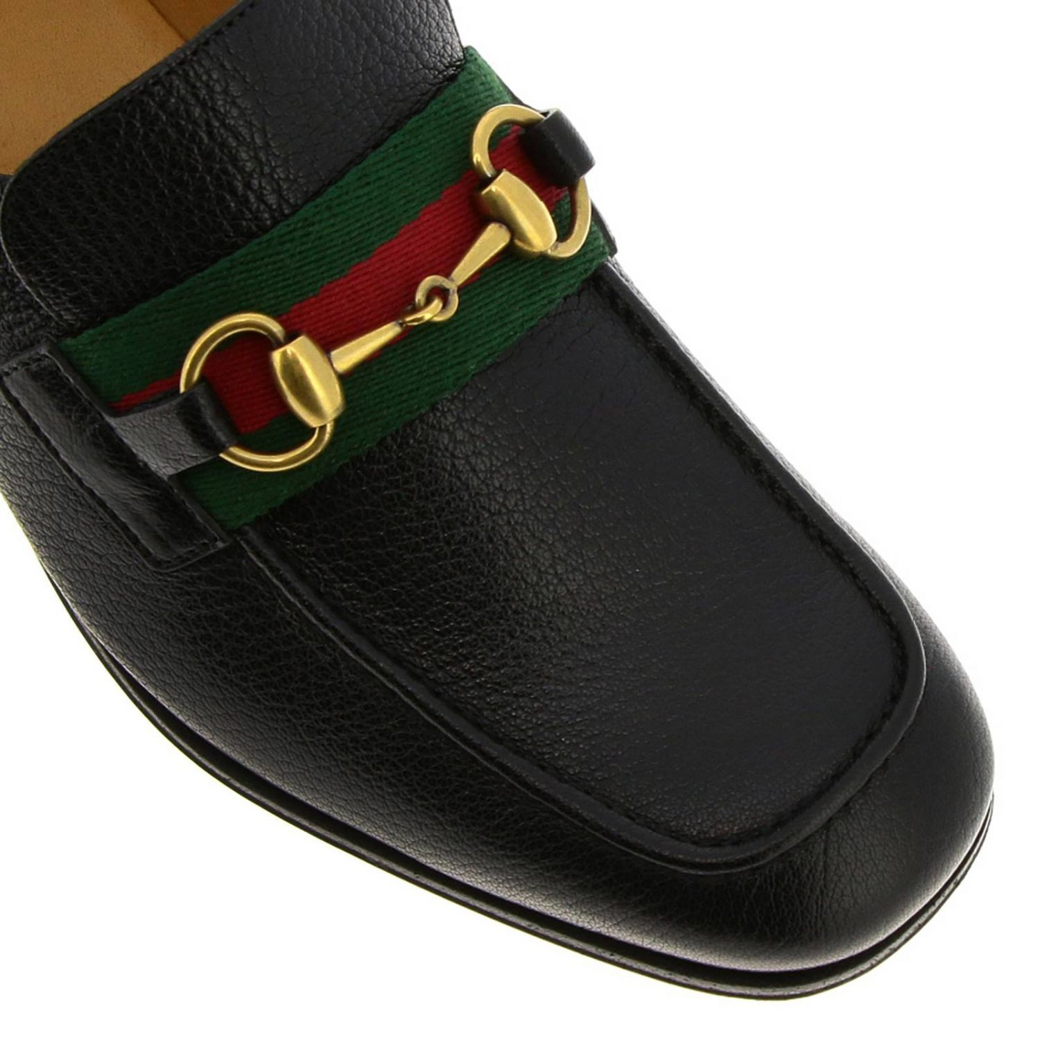 Mocassino Bonny in vera pelle soft con morsetto metallico e fascia Web Gucci nero 3