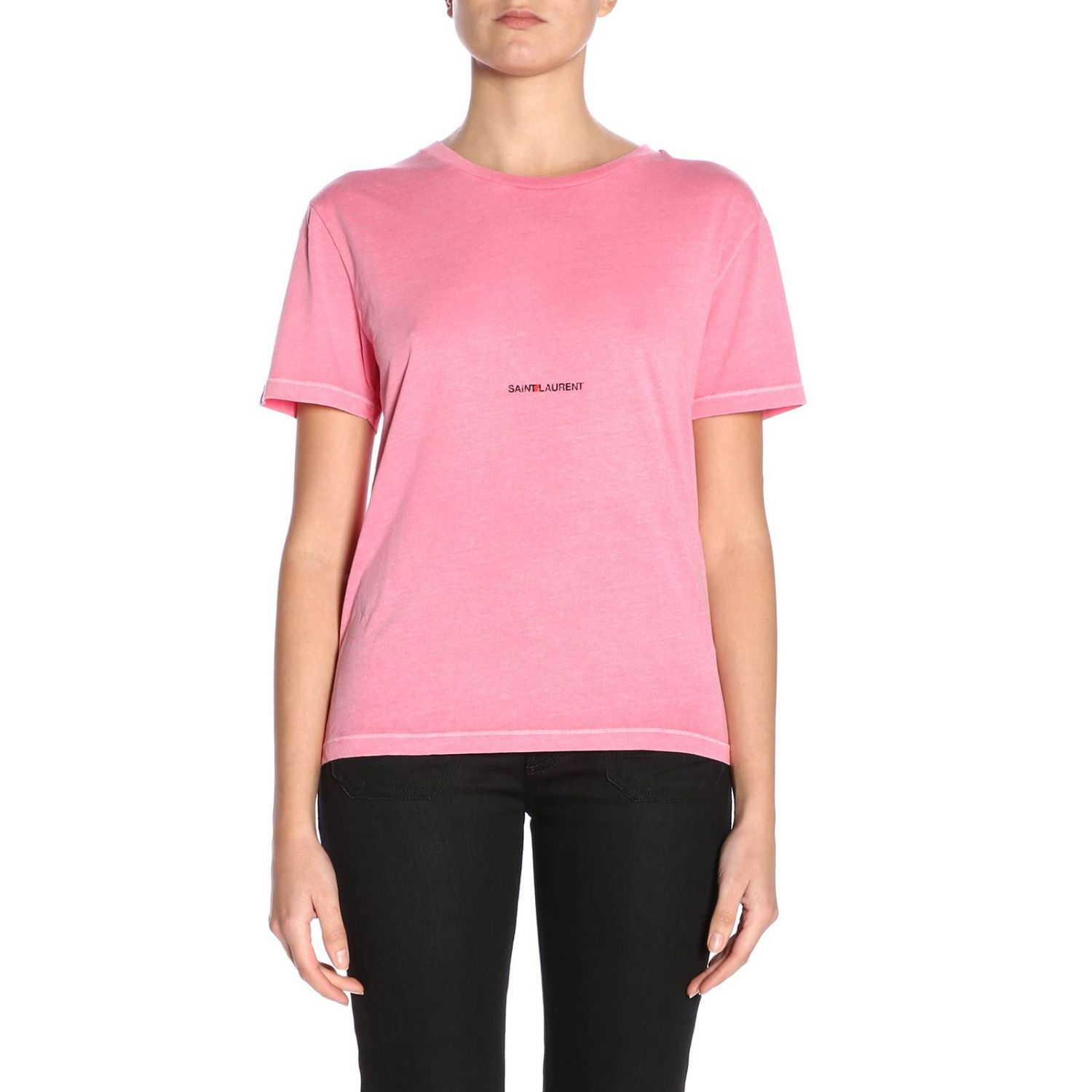 T-shirt a girocollo basic in jersey con micro stampa Saint Laurent rosa 1