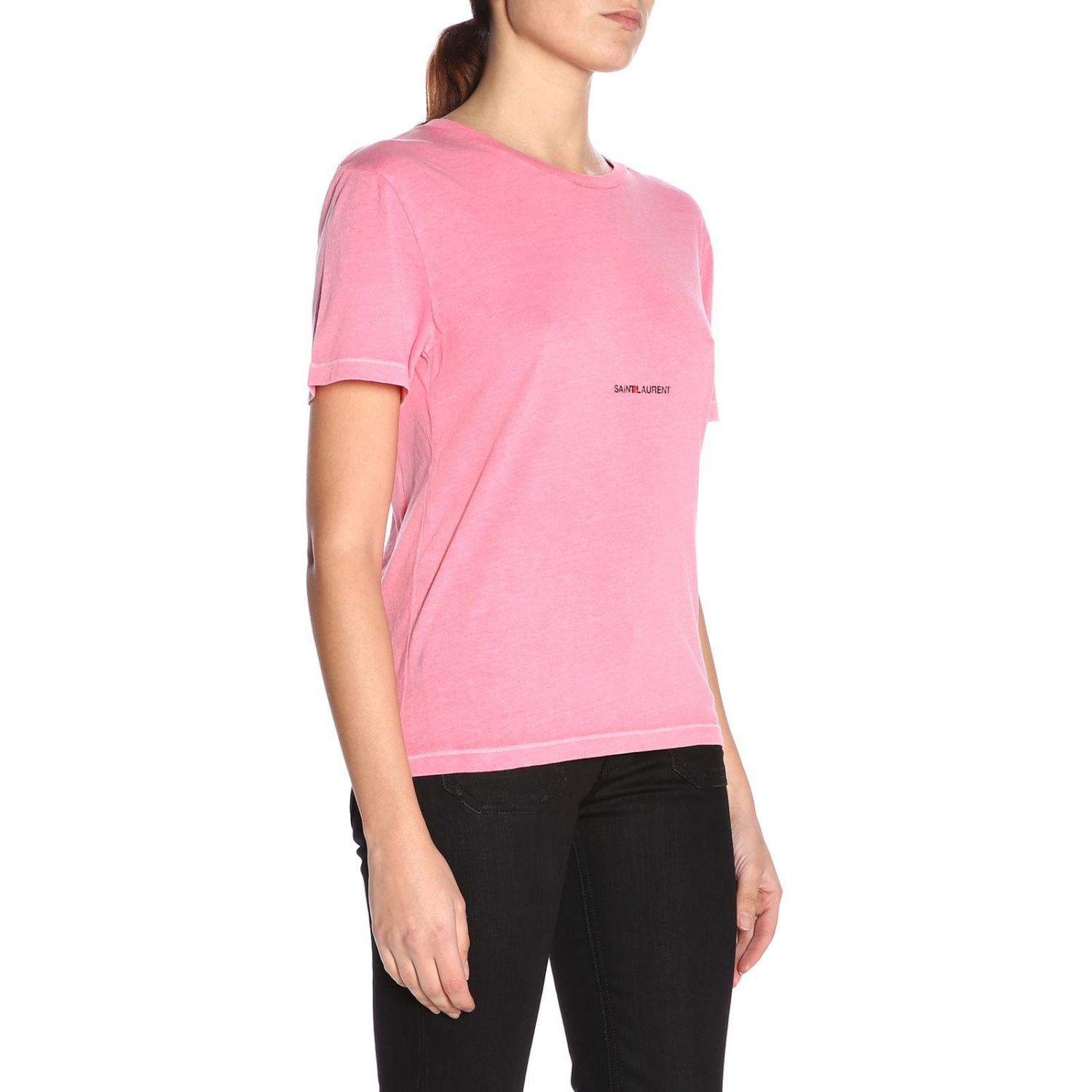 T-shirt a girocollo basic in jersey con micro stampa Saint Laurent rosa 2