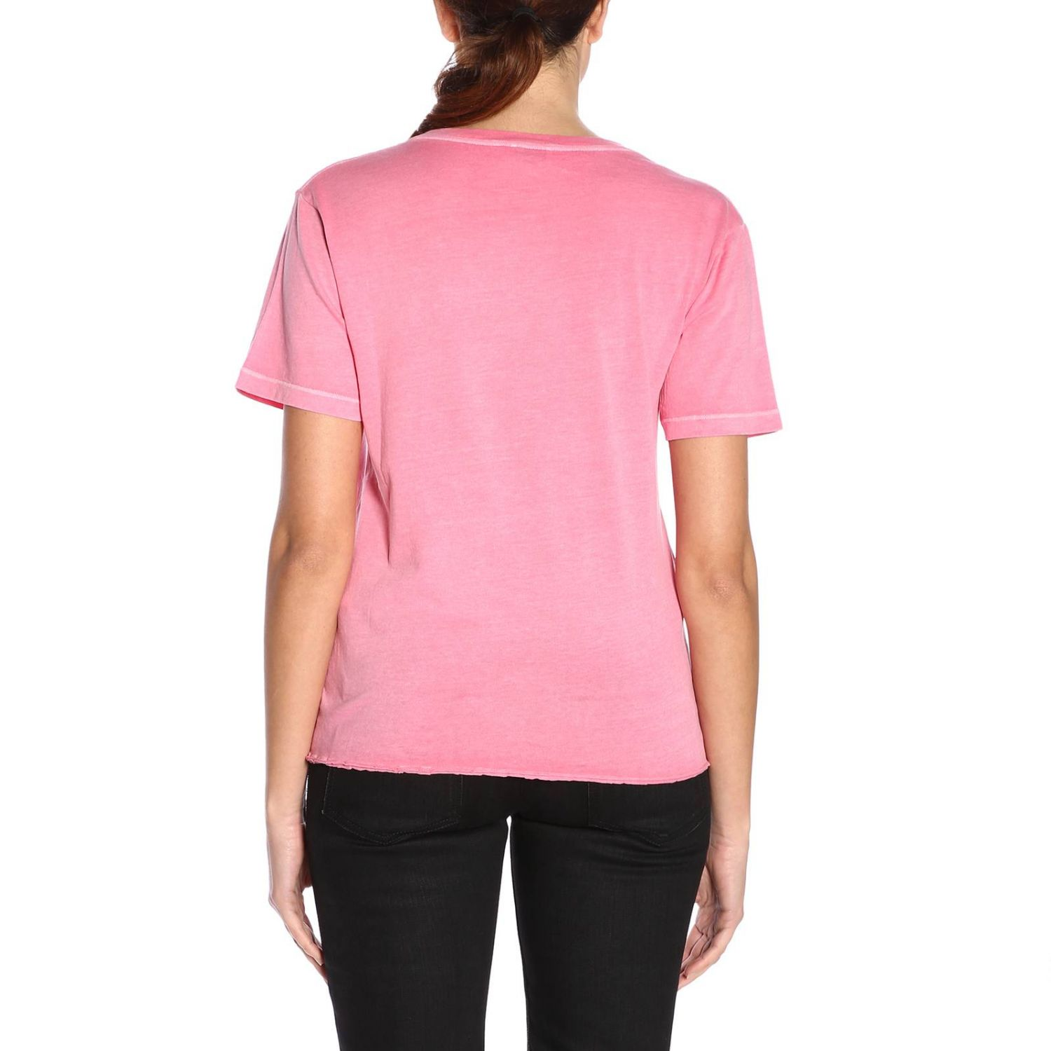 T-shirt a girocollo basic in jersey con micro stampa Saint Laurent rosa 3