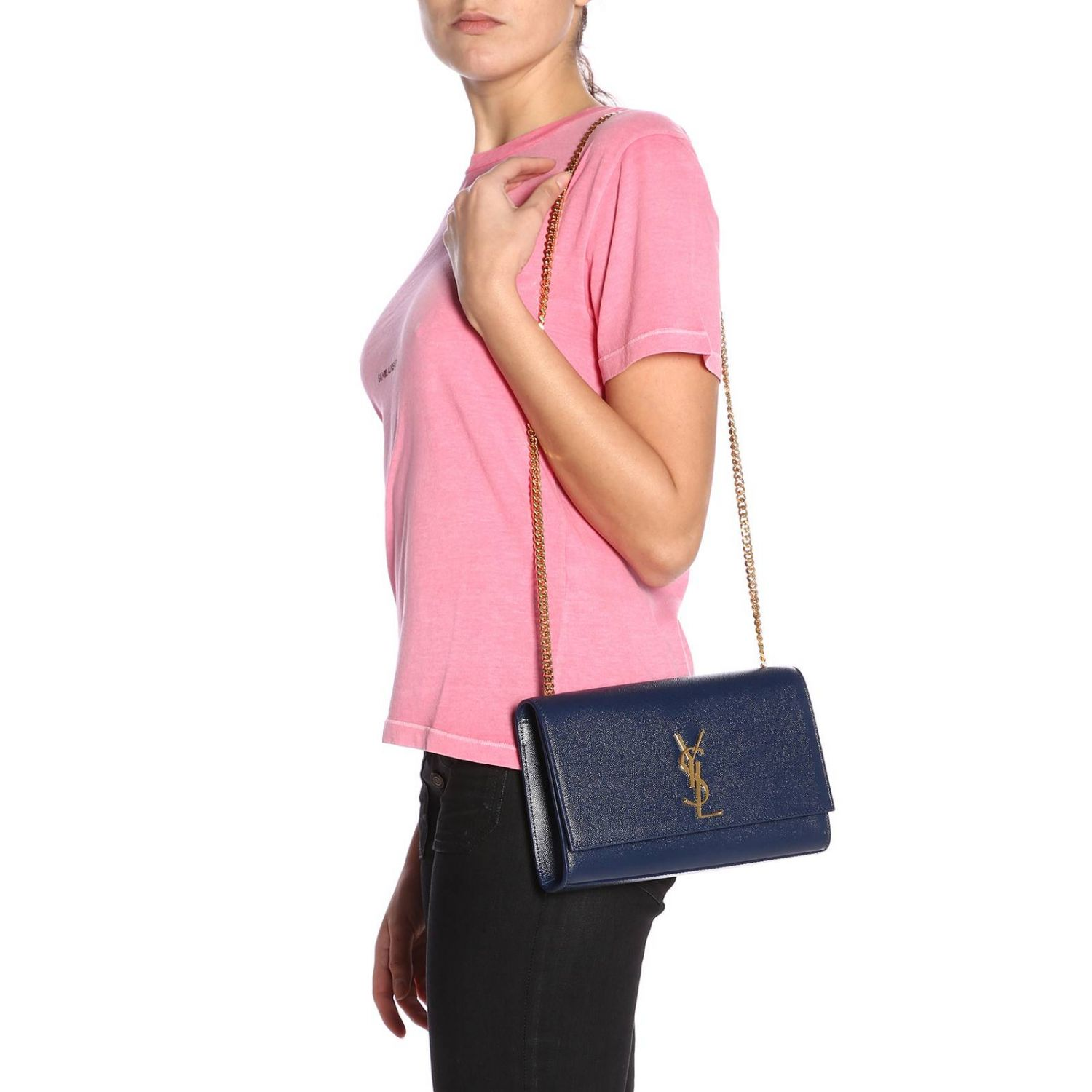 T-shirt a girocollo basic in jersey con micro stampa Saint Laurent rosa 4