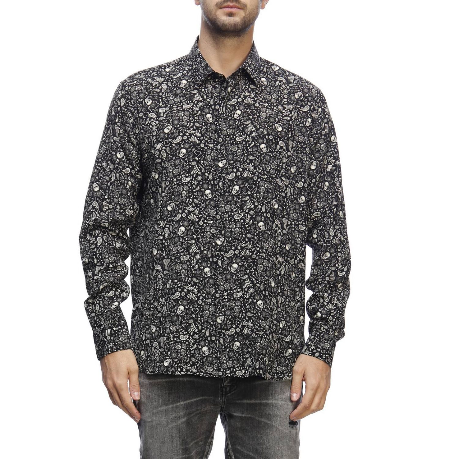 Camicia casual con stampa teschi all over nero 1
