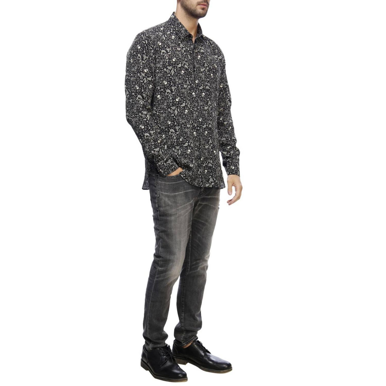 Camicia casual con stampa teschi all over nero 4