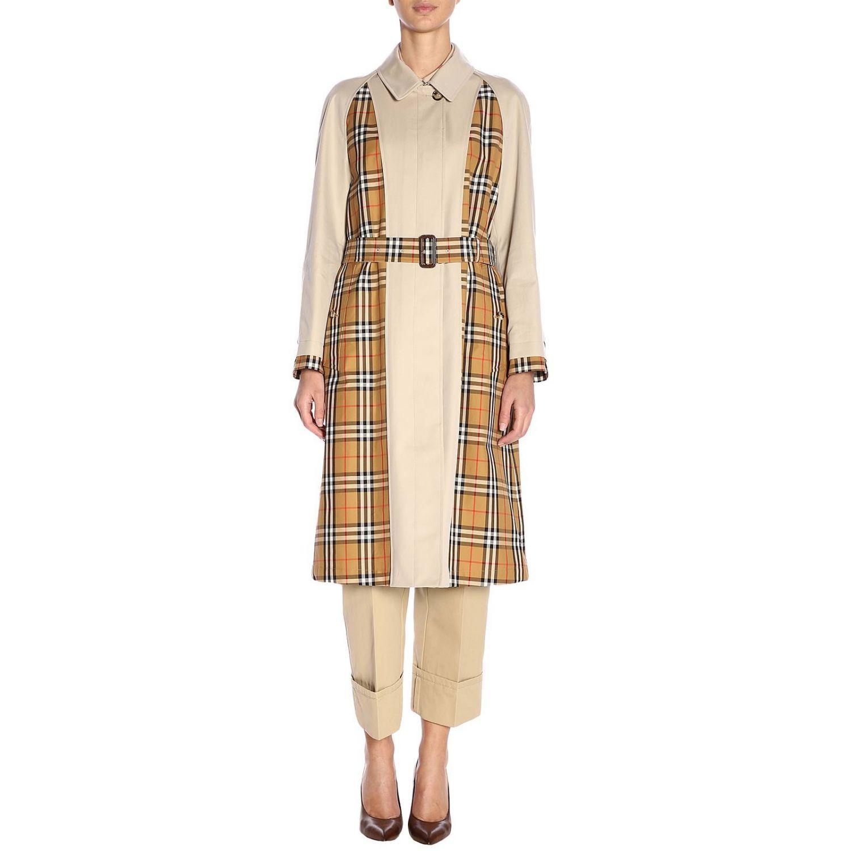 Trench coat Guiseley lungo in gabardine bimateriale con dettagli check Burberry beige 1