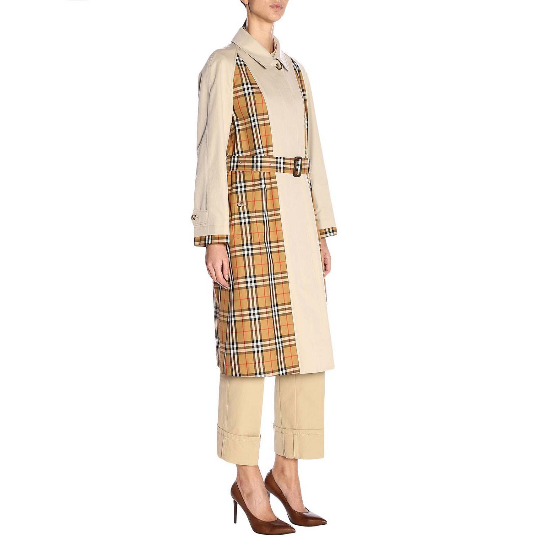 Trench coat Guiseley lungo in gabardine bimateriale con dettagli check Burberry beige 2