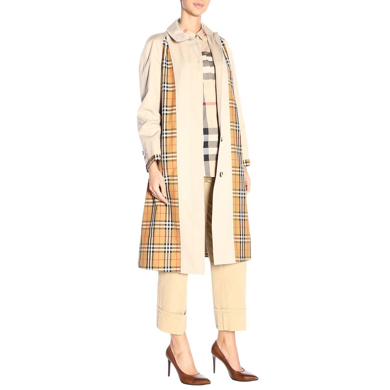 Trench coat Guiseley lungo in gabardine bimateriale con dettagli check Burberry beige 4