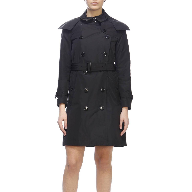 Trench coat Kensington medio in nylon impermeabile con sotto collo check Burberry nero 1