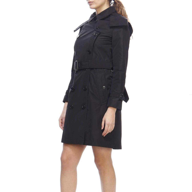 Trench coat Kensington medio in nylon impermeabile con sotto collo check Burberry nero 2