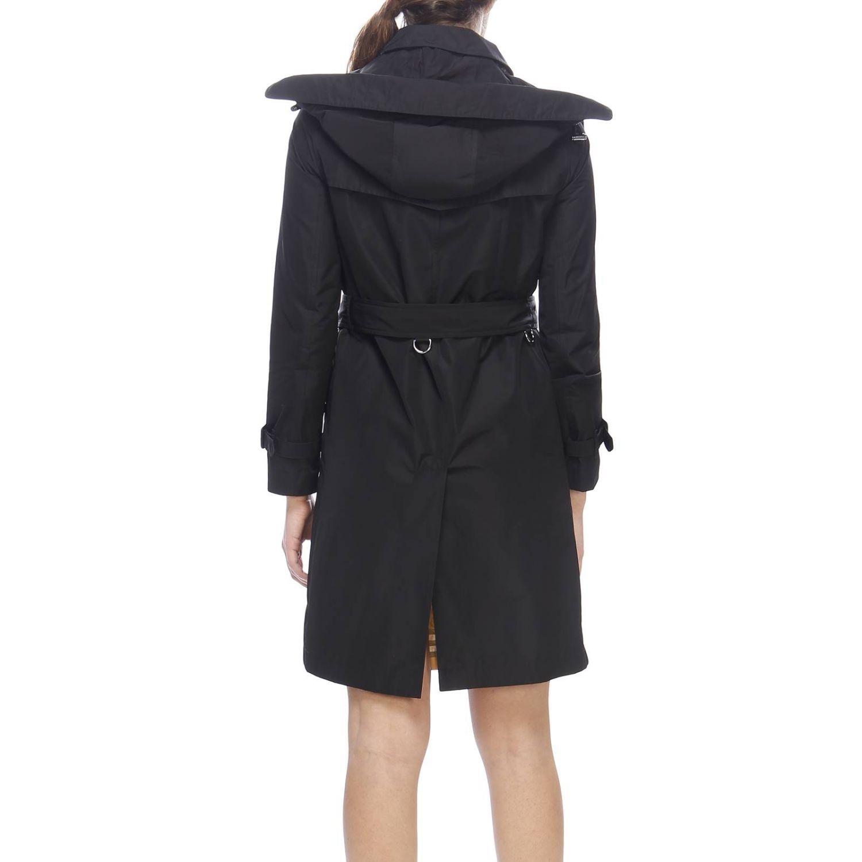 Trench coat Kensington medio in nylon impermeabile con sotto collo check Burberry nero 3