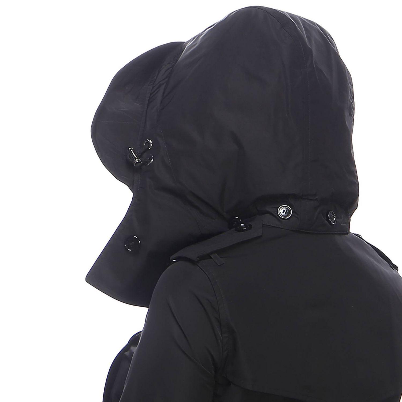 Trench coat Kensington medio in nylon impermeabile con sotto collo check Burberry nero 4